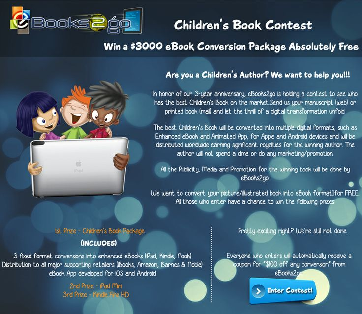 Participate in our 3-year anniversary children's book contest to win a $3000 eBook Conversion Package Absolutely Free!