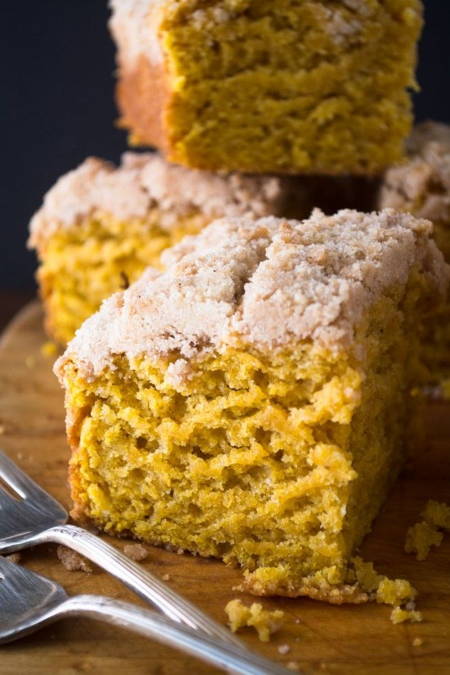 Pumpkin Crumb Cake is the perfect fall breakfast --- it's lightly spiced, not too sweet, and a glorious golden color!  (The View from Great Island)