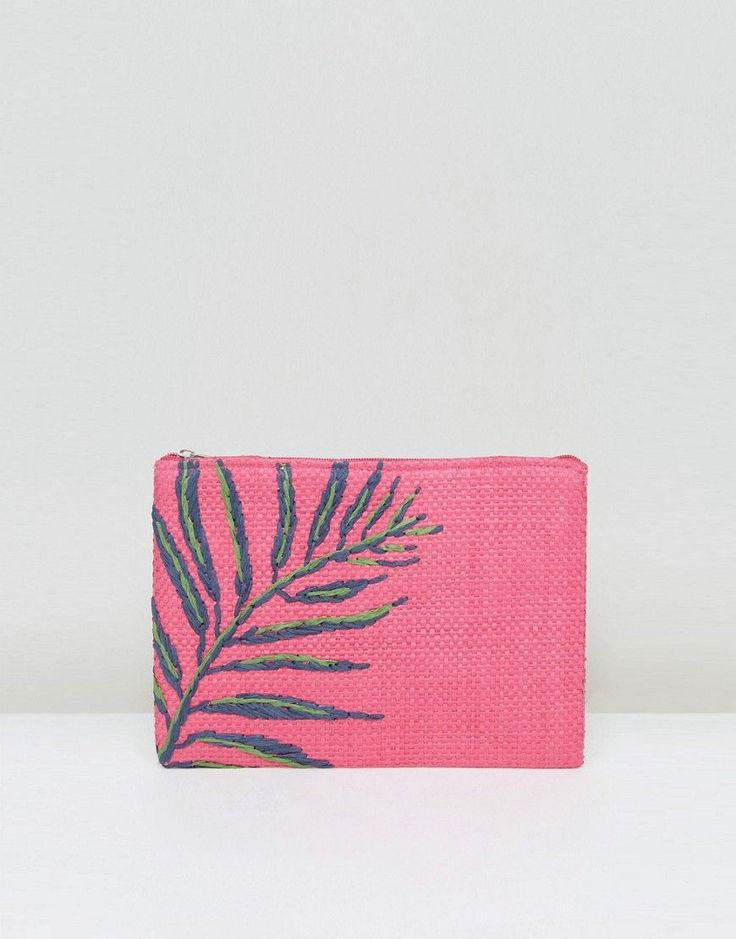 Get this South Beach's clucth now! Click for more details. Worldwide shipping. South Beach Hot Pink Straw Clutch Bag With Palm Embroidery - Pink: Bag by South Beach, Woven straw outer, Jute lining, Embroidered palm leaf design, Zip-top fastening, Interior slip pocket, Wipe clean, 100% Paper Straw. Making a splash, hot new swim and beachwear brand South Beach presents its debut collection of vibrant, trend-led pieces. Featuring beading and embellishment across a range of classic bikini…