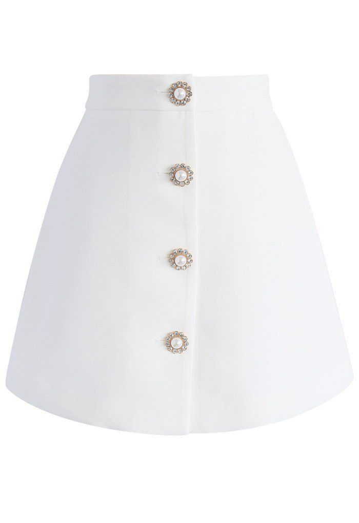 Groovy Jewel Bud Skirt in White - New Arrivals - Retro, Indie and Unique Fashion