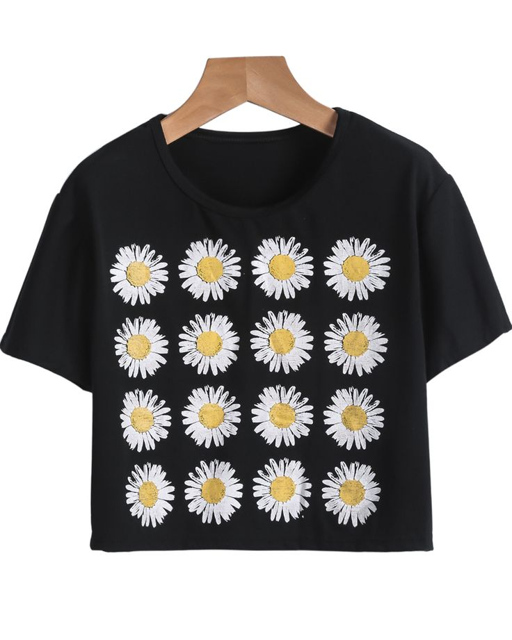 Shop Black Short Sleeve Sunflowers Print Crop T-Shirt