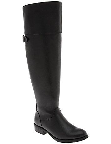 The hottest in equestrian style, we've amplified the sex appeal on our over-the-knee boot with a studded back for bold, can't-miss-me sparkle. This low-heeled boot turns up the heat on dressy and casual styles alike in versatile faux leather for a polished look that goes anywhere. Designed for wide calf, wide width comfort with a convenient side zipper entry and gored top for extra stretch. Stable, chunky heel with non-slip sole. lanebryant.com