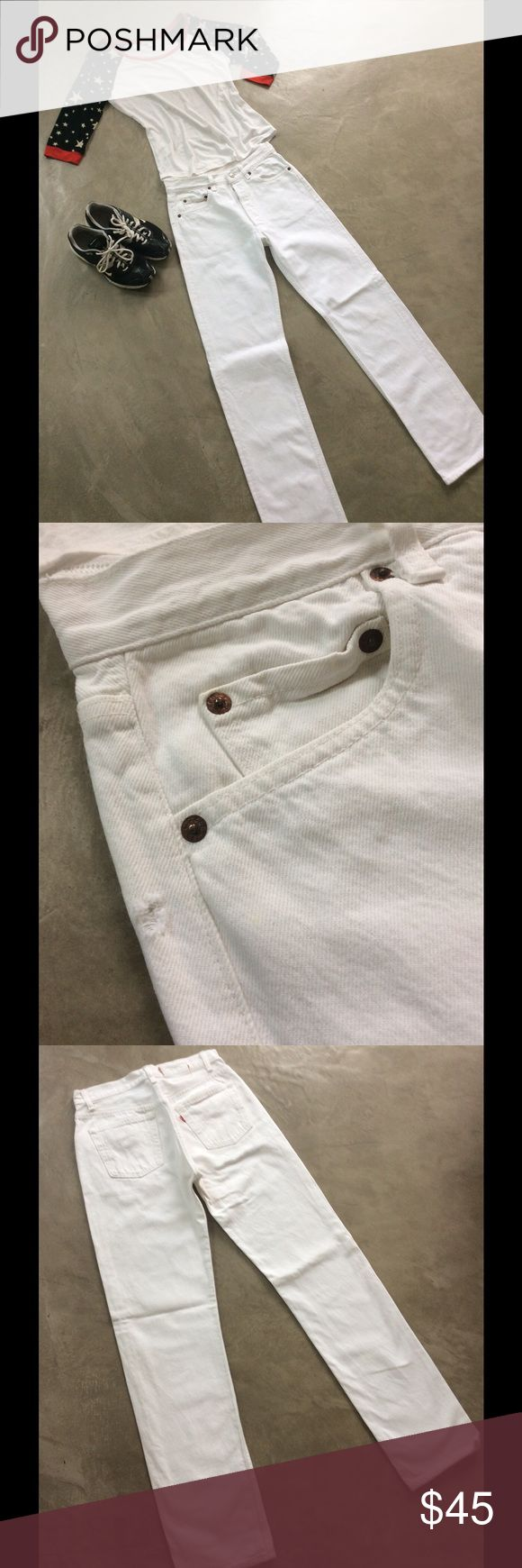 """Vintage rare white Levi 501 jeans PRICE FIRM Very hard to find in this condition. From the 80's-90's-90's these are 501 button fly classic cut jeans. I tiny hole as shown but all else in very good condition. Waist measures 28"""" and length is 33"""". A true wardrobe classic. Vintage Levis Jeans Straight Leg"""