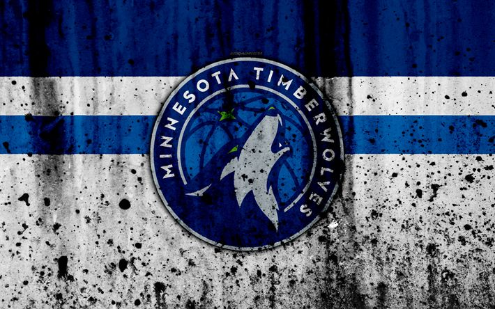Download wallpapers 4k, Minnesota Timberwolves, grunge, NBA, basketball club, Western Conference, USA, emblem, stone texture, basketball, Northwest Division