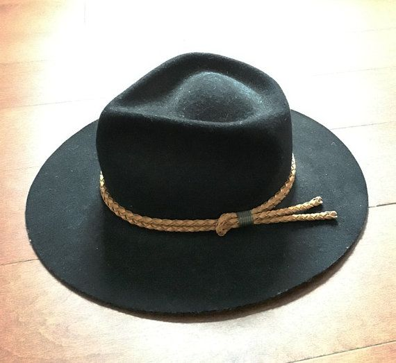 Vintage Black Cowboy Hat  Adult Small  Early 1990s by 2Renew