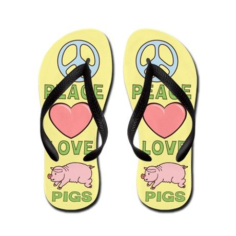 0eab7607a141 Peace Love Pigs Flip Flops