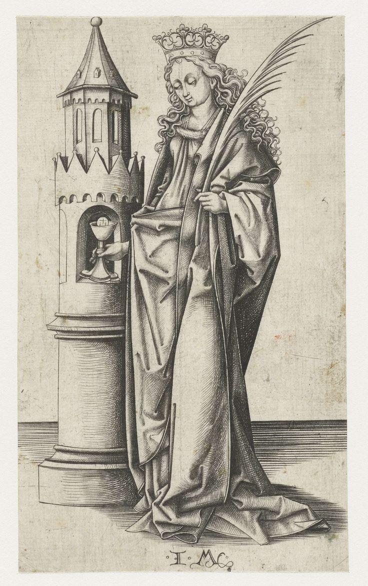 Heilige Barbara, Israhel van Meckenem, 1455 - 1503