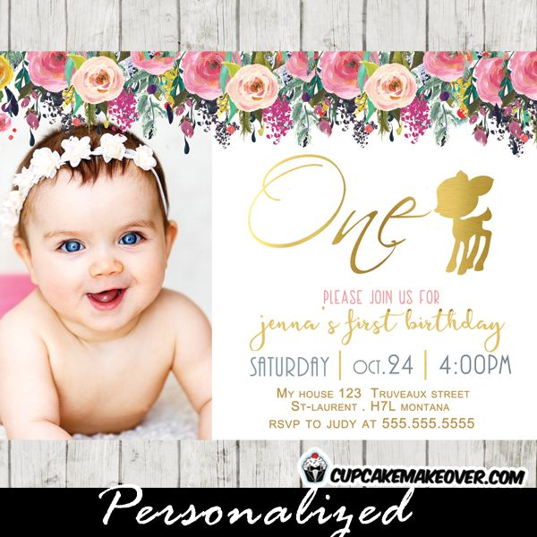 Best Invitations Images On Pinterest Kitchen Tea Invitations - First birthday invitations girl pink and gold
