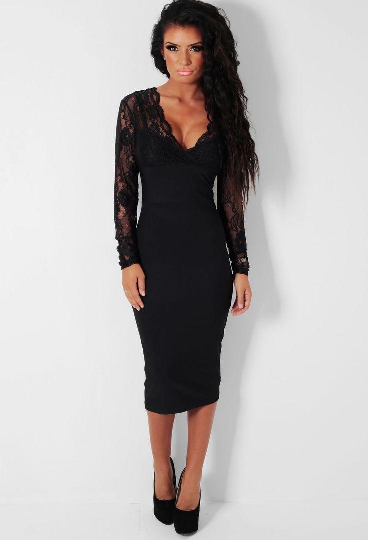 Ariana LUXE Black Lace Panel Bodycon Midi Dress   Pink Boutique