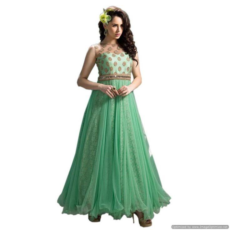 Buy Online Sea Green Designer New Anarkali Suit