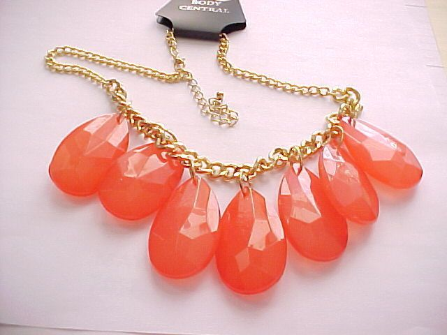 """Large """"Body Central"""" watermelon colored bib necklace, gold plated 18"""" adj. chain #BodyCentral #Bib"""