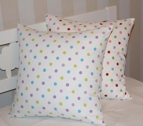 Polka Dot Pillow Cover, Kids Pillow Case, Throw Pillow Cover, Toddler Pillow, Baby Pillow Cover, Purple Blue Pillow, Pink Green Pillow Cover