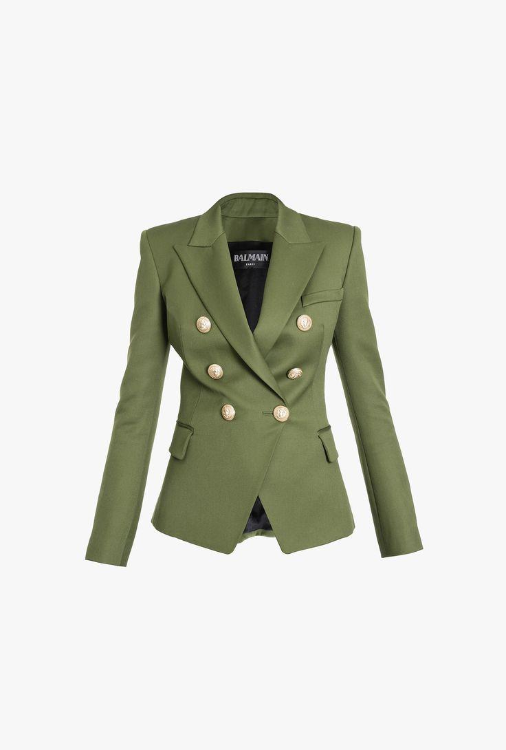 Double-breasted grain de poudre wool blazer   Women's blazers   Balmain
