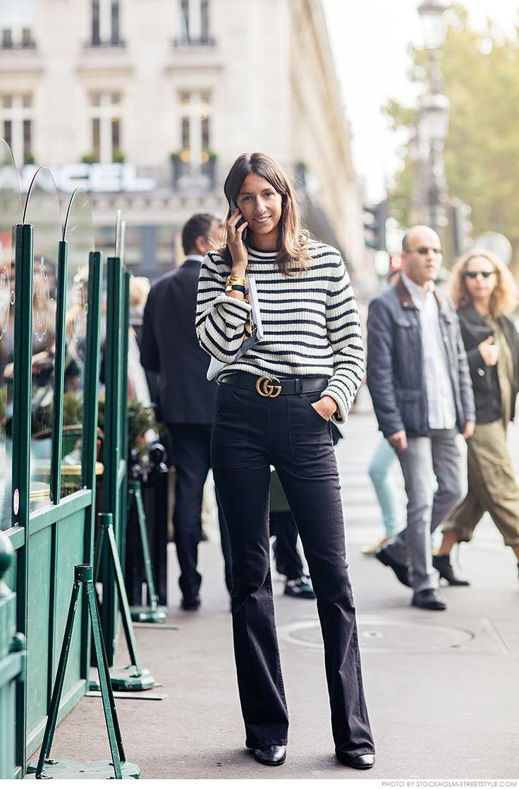 Géraldine Saglio ... striped knit and Gucci