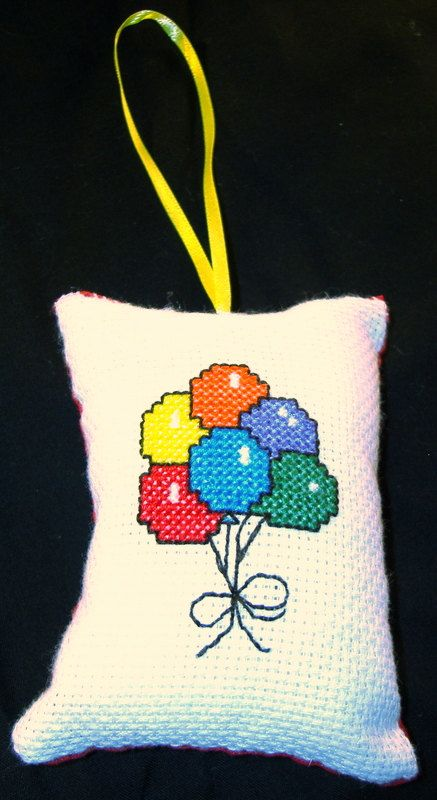 Birthday Balloons Counted CrossStitch by MystieMeadowGifts on Etsy, $5.00