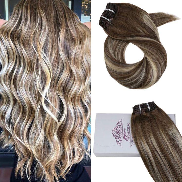 Moresoo 20 Inch Natural Hair Clip ins Real Human H…