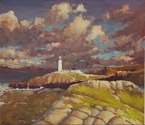 "Alex McKenna, ""Fanad Head, Donegal"" #art #lighthouse #stormysky #FanadHead #Donegal #painting #seaside #DukeStreetGallery"