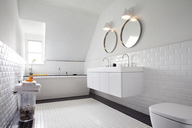 Beveled white subway tile wainscot bathrooms pinterest for Faience cuisine retro
