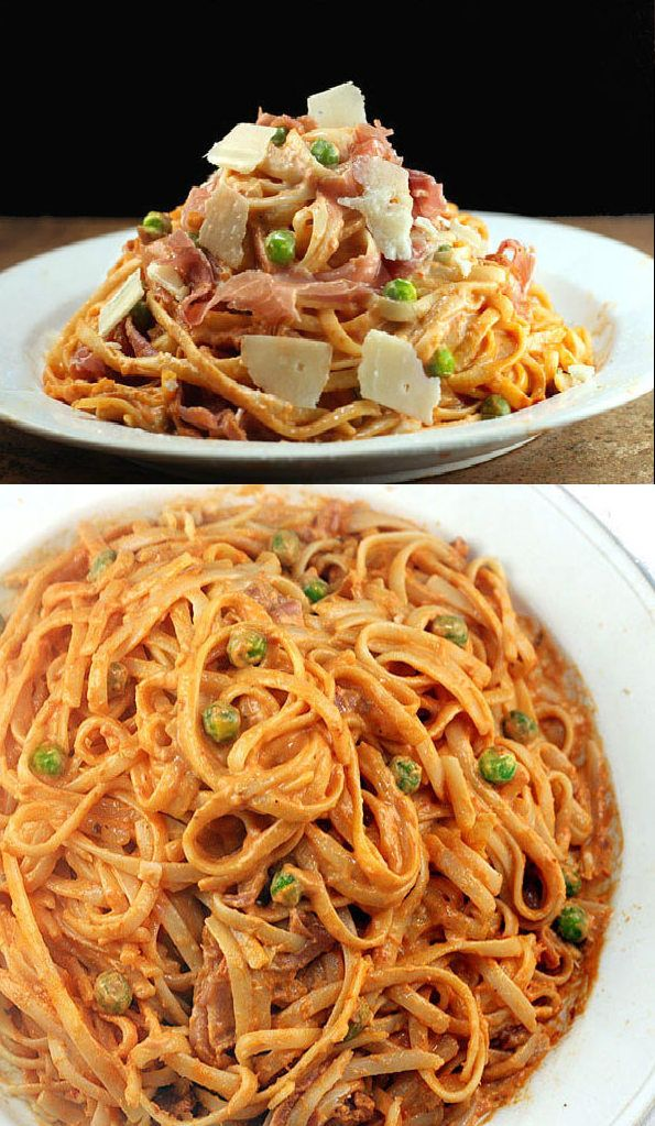 Creamy Tomato Alfredo Linguine with or without Peas and Prosciutto. My favorite and most requested sauce. This sauce was handed down from a friend's Italian Nonna.