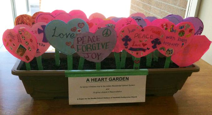 Planter Heart Garden in bloom, made by children at the Thornhill Presbyterian Church, ON.