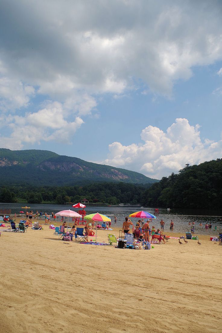 The beach at Lake Lure in the North Carolina mountains near Asheville