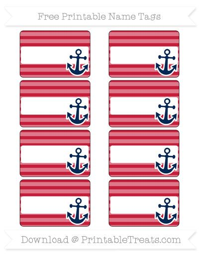 Free Cardinal Red Horizontal Striped Nautical Name Tags