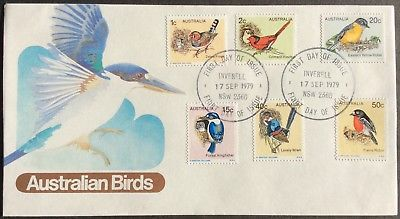 1979 Australian Birds 1c-50c Set of 6 First Day Cover Canc Inverell 17 SEP