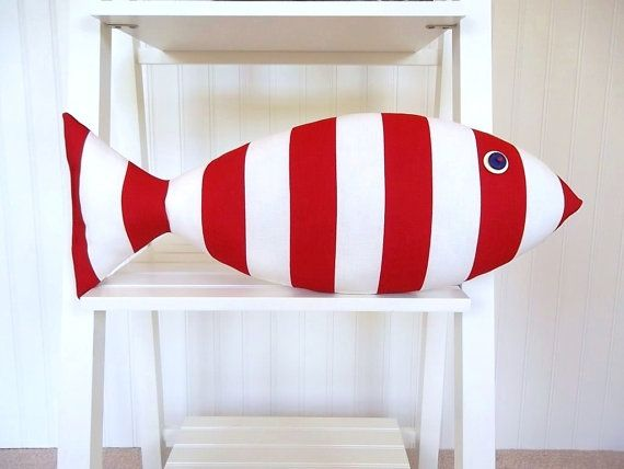 Fish Pillow - Red and White Stripes - Kids Decor - Beach House Decor on Etsy, $23.17 AUD