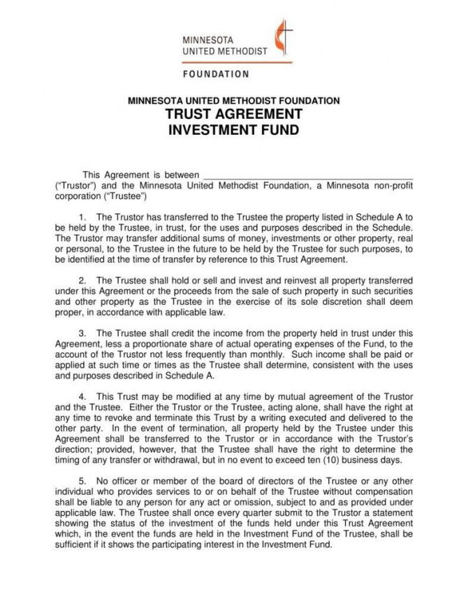 Formal Trust Agreement Template Contract Template Agreement