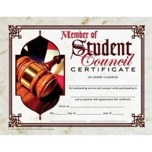 Member of Student Council Certificate! 30/pack  Downloadable templates available to personalize or can be handwritten.