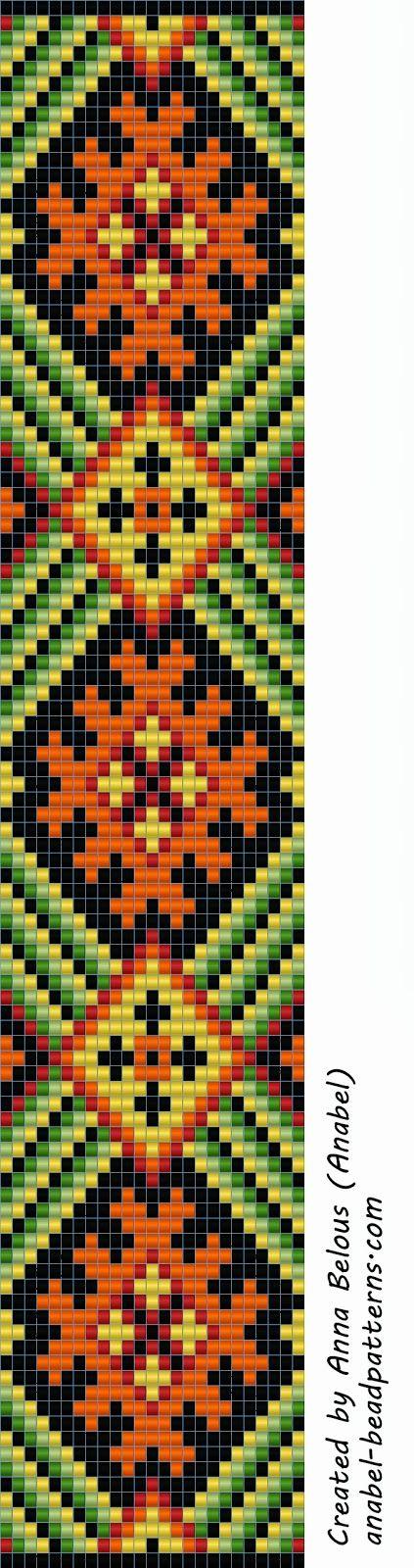 Схема браслета - вариация на тему славянского орнамента