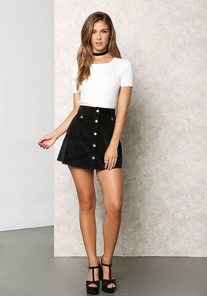 Black Corduroy Button A-Line Mini Skirt