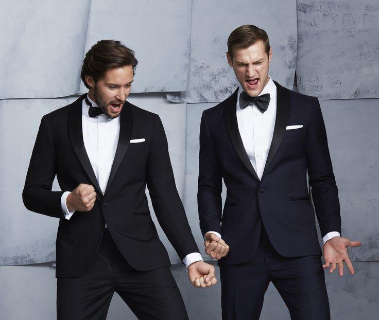 Left: Montgomerie Black Tux; Wing Collar Tux Shirt; Mauricio Black Bow Tie.  Right: Defoe Navy Tux; White Bib Front Shirt; Grey Wool Bowtie