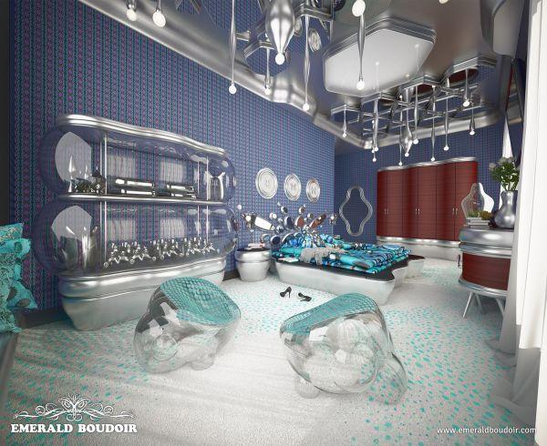 master bedroom, Emerald Boudoir - Luxury Interiors