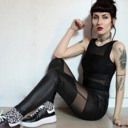 fashion icon Women\'s Imitation Leather Mesh Spliced Leggings Pants