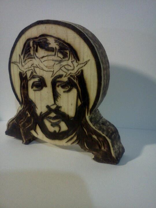 Wooden Jesus medallion