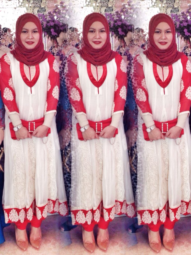 Attending a wedding party with this white and red Anarkali Kurta Indian style