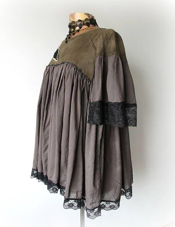 Rustic Clothing Loose Flowy Shirt Shabby Chic Top Boho