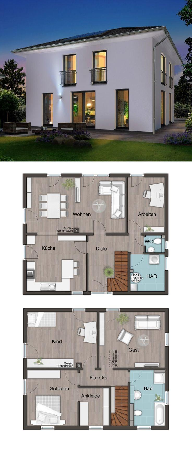 Moderne Stadtvilla Neubau mit Walmdach Baukunst – Einfamilienhaus konstruieren Grund…