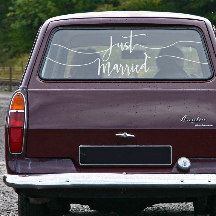 "Hand Scripted ""Just Married"" Car Decal with Custom Sizing for Your Window"