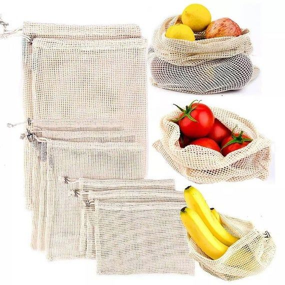 Reusable Produce Bags Grocery Bags For Fresh Fruit And Vegetables Mesh Cotton Eco Bag In 2020 Reusable Produce Bags Fruit And Vegetable Storage Vegetable Bag