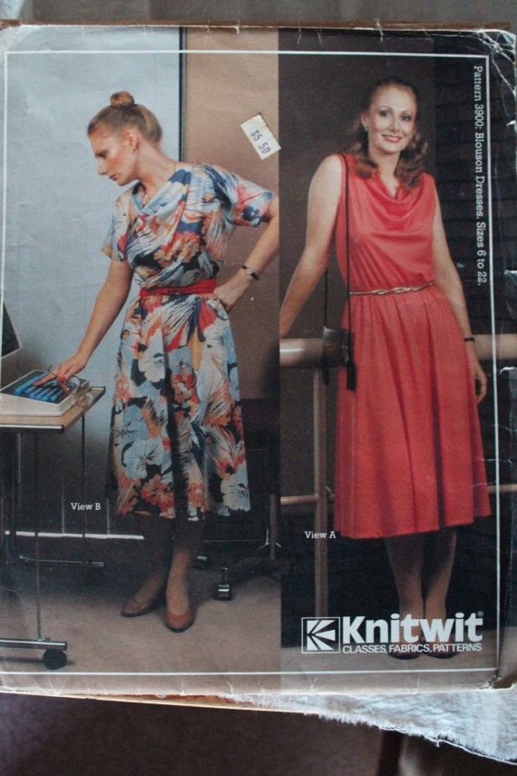 Vintage Knitwit 1980s Sewing Pattern 3900 Blouson Dresses Sizes 6 to 22