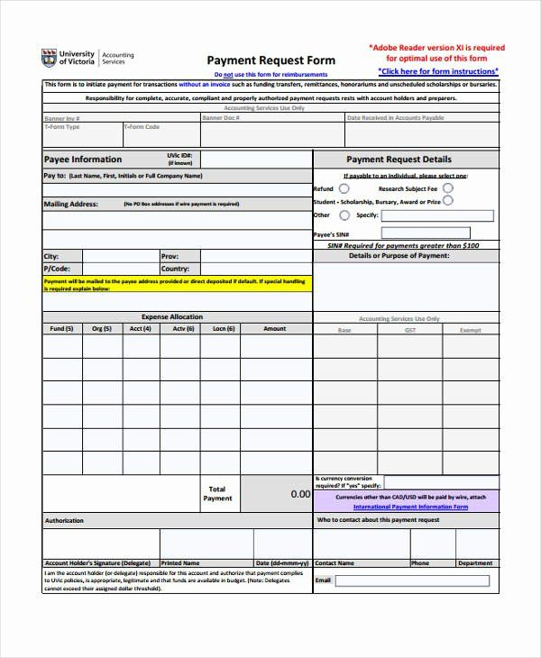 Awesome Payment Request Form Template In 2020 Templates Party
