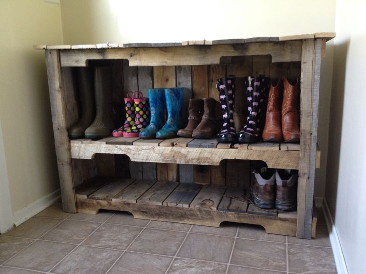 Pallet wood shoe shelf for a mud room.  Made from refurbished pallets.