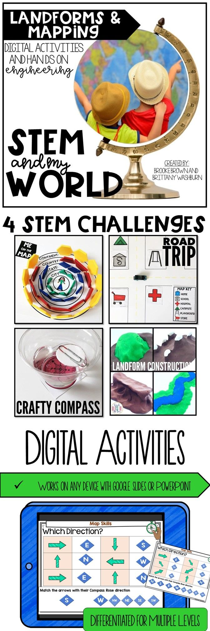 STEM Challenges and digital activities for Kindergarten, First Grade, and Second Grade to learn about map skills, cardinal directions, and landforms!