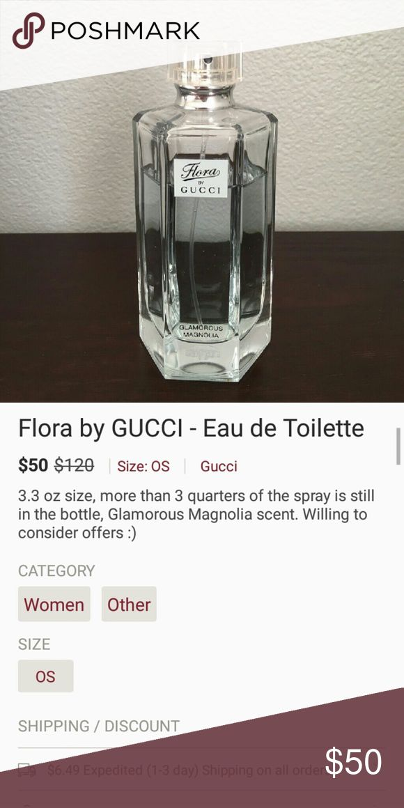 Flora by GUCCI - Eau de Toilette 3.3 oz size, more than 3 quarters of the spray is still in the bottle, Glamorous Magnolia scent. Willing to consider offers. Gucci Other