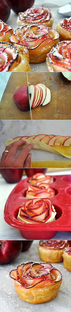 """Красивый десерт """"Яблочные розы"""""""