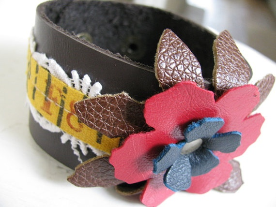 Recycled Purse Bracelet by StitchesByJulia on Etsy cut with a Sizzix Big Shot: Recycled Purse, Craft Projects, Crafty Gifts, Etsy Cut