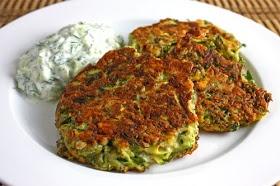 Greek Zucchini Fritters with Tzatziki (sub almond flour?)