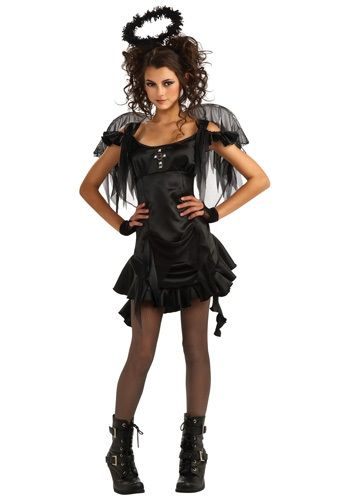 This teen Gothic angel costume has the look of a heavenly being fallen from grace.